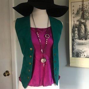{True Vintage} 80s teal leather vest brass snaps